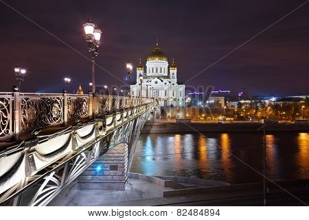 Cathedral of Christ the Savior in Moscow (Russia) at night