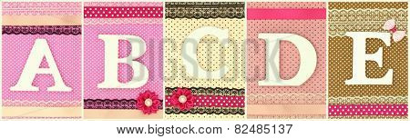 Wooden letters A B  C D E on polka dots background