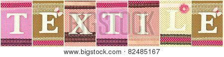 Word Textile with wooden white letters on polka dots collage background