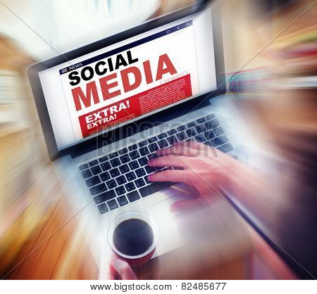 Digital Online News Social Media Concept
