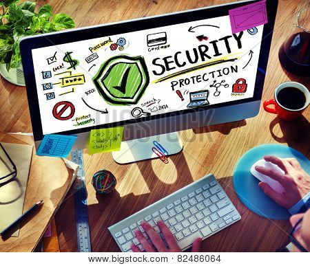 Businessman Online Internet  Security Protection Firewall Concept