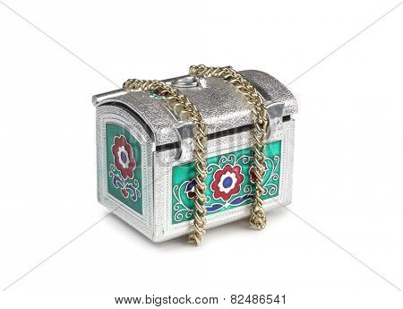 Vintage metal chest and chain on a white background