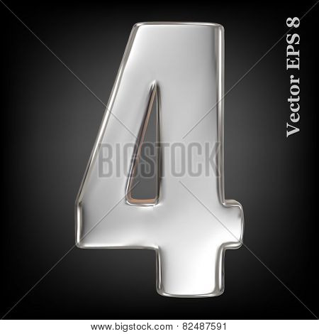 Vector 3d metal number collection - 4. Eps 8 using mesh.