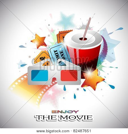 Vector Abstract Cinema Design with Paper Cup, Film Strip, 3D Glasses, Cinema Tickets, Dotted and Shining Stars in front of Colorful Splats.