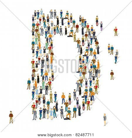 People crowd. Vector ABC, letter D