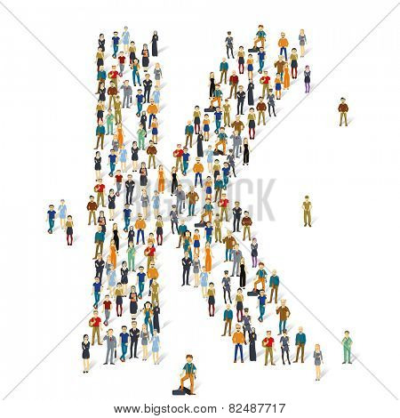 People crowd. Vector ABC, letter K