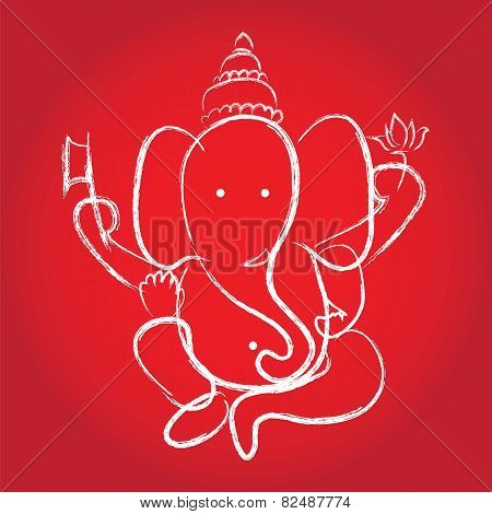 Hindu God Ganesha. Vector Illustration.