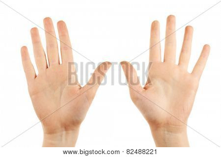 Female hands gesture isolated on white
