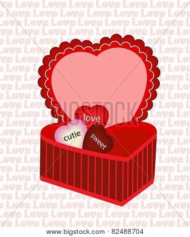 Valentine box of hearts word love wallpaper behind - put your stuffing with the heats