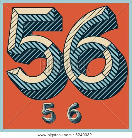 Etched vector font set of engraved letters. Old school beveled alphabet. Numbers 5 6