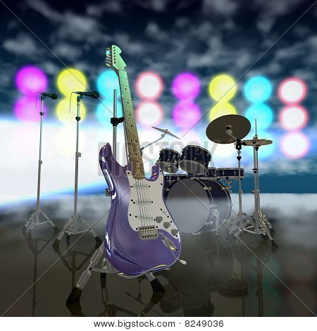 Electric Guitar On A Music Stage