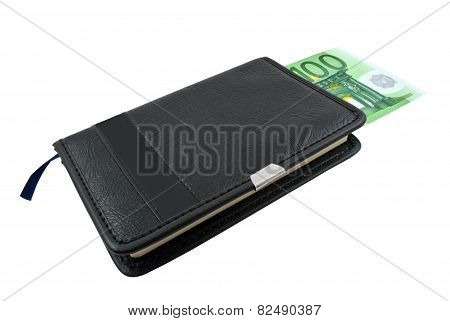 Notebook And Euro Banknotes Money