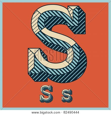 Etched vector font set of engraved letters. Old school beveled alphabet. Character S
