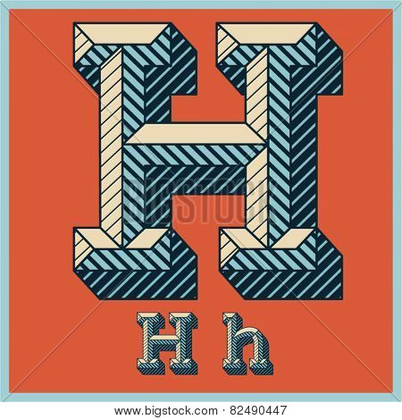 Etched vector font set of engraved letters. Old school beveled alphabet. Character H