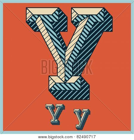 Etched vector font set of engraved letters. Old school beveled alphabet. Character Y