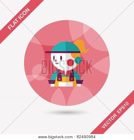 Coffee Shop Clerk Flat Icon With Long Shadow,eps10
