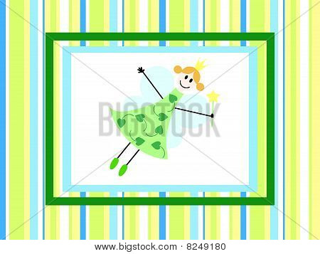Fairy On Stripped Backdrop
