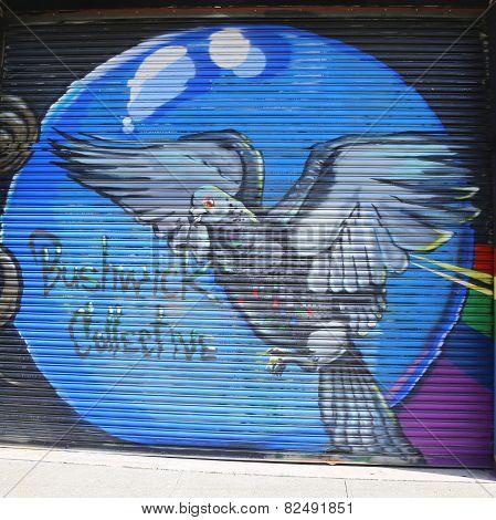 Mural art at East Williamsburg in Brooklyn.