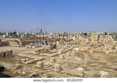 Buildings Of Amman Citadel In Jordan