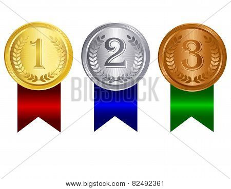 Award Medal With Ribbon Gold Silver And Bronze
