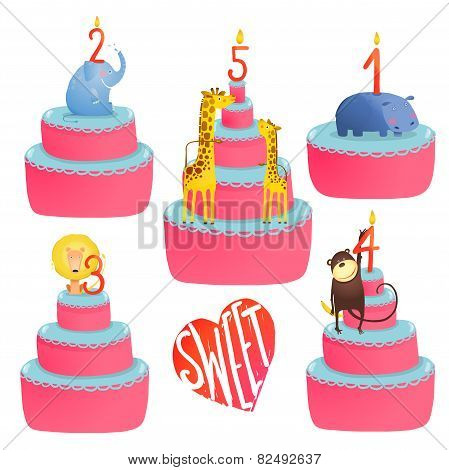 Happy Birthday Cakes Collection with Animals and Lettering