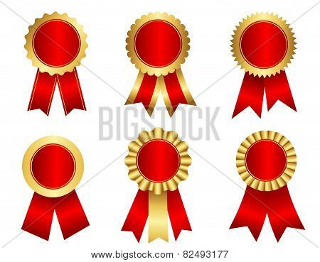 Award Ribbon Rosette Gold And Red