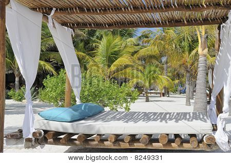 Beach bed on white sand among palm trees
