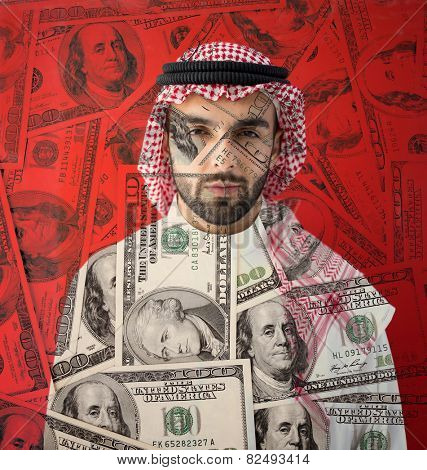 Arabic rich businessman with money background
