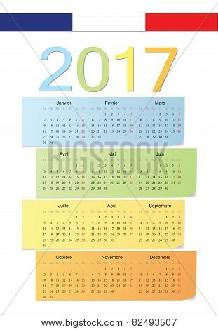 French 2017 Vector Color Calendar.