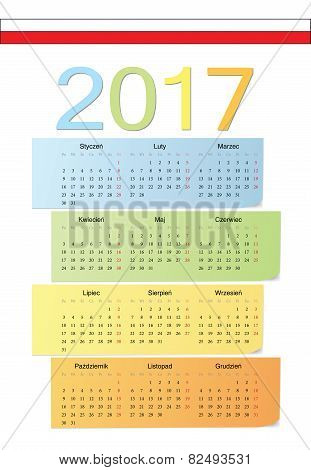 Polish 2017 Vector Color Calendar.