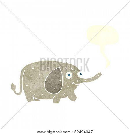 cartoon funny little elephant with speech bubble