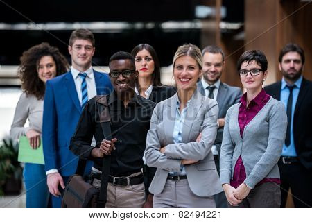 young multiethnic business people group g standing