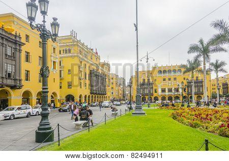 LIMA, PERU, MAY 23, 2014: Plaza Mayor
