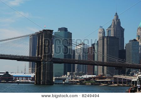 Brooklyn Bridge with Downtown Manhattan as background