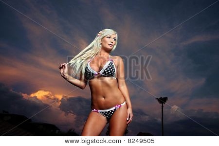 Beautiful blond woman in bikini