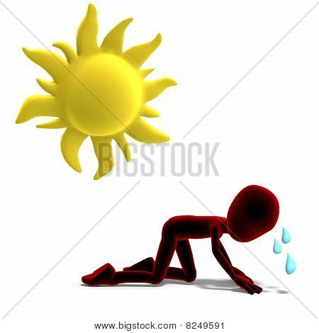 3d male icon toon character sweating in the