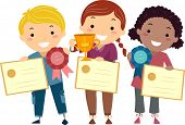 stock photo of stickman  - Stickman Illustration of Kids Holding Certificates - JPG