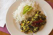 picture of okras  - Indian vegetarian fried okra with basmati rice - JPG