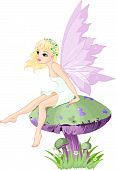 picture of fairy-mushroom  - Sweet summer fairy elf sitting on mushroom - JPG