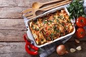 picture of enchiladas  - Mexican enchilada in a baking dish with the ingredients on the table - JPG
