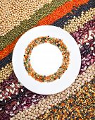 foto of legume  - colorful striped rows of lentils - JPG