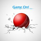stock photo of cricket ball  - illustration of cricket ball falling on ground making crack - JPG