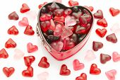 picture of jelly beans  - valentine wallpaper with heart shaped mold filled with heart jelly beans - JPG
