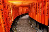 stock photo of inari  - Red Tori Gate at Fushimi Inari Shrine in Kyoto - JPG