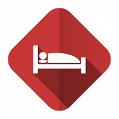 stock photo of flat-bed  - hotel flat icon bed sign  - JPG