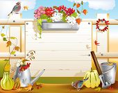 foto of bird fence  - garden tool at wooden fence at fall - JPG