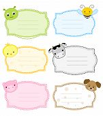 pic of cute animal face  - Colorful kids name tags  - JPG