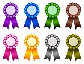 foto of rosettes  - Set of elegant blank award ribbon rosettes in shiny purple blue green brown pink yellow gray colors isolated on white background - JPG