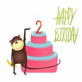 stock photo of cake stand  - Funny monkey standing with cake - JPG