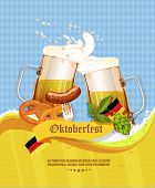 pic of pretzels  - Poster with mug of beer - JPG